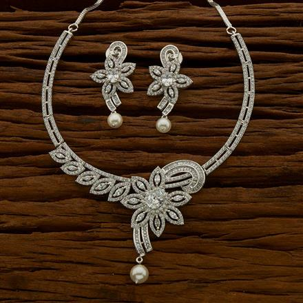 54639 CZ Classic Necklace with rhodium plating