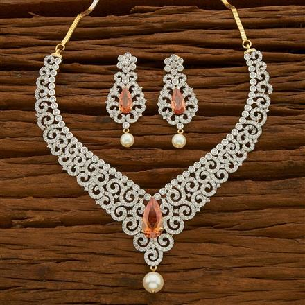 54645 CZ Classic Necklace with 2 tone plating