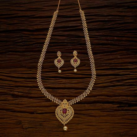 54658 CZ Long Necklace with gold plating