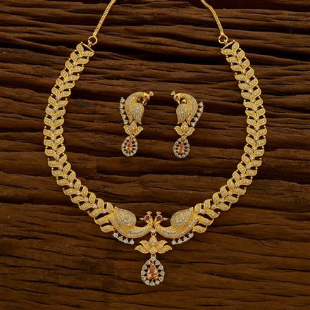 54663 CZ Peacock Necklace with gold plating