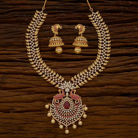 54664 CZ Peacock Necklace with gold plating