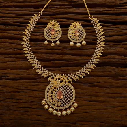 54666 CZ Peacock Necklace with gold plating
