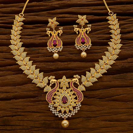 54673 CZ Peacock Necklace with 2 tone plating