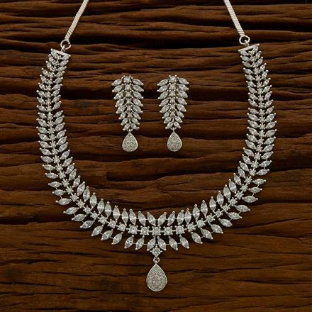 54680 CZ Classic Necklace with rhodium plating