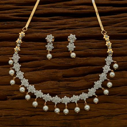54681 CZ Delicate Necklace with 2 tone plating