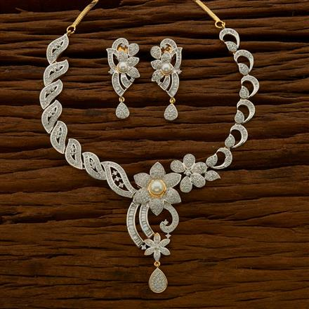 54683 CZ Classic Necklace with 2 tone plating
