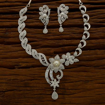 54684 CZ Classic Necklace with rhodium plating