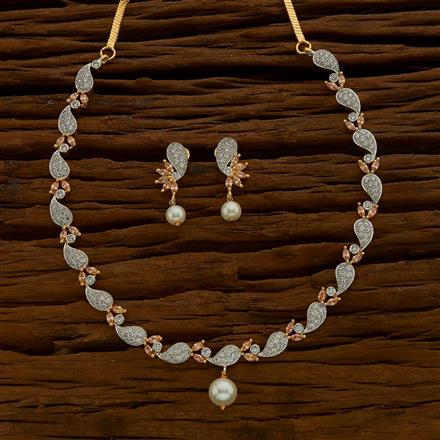 54689 CZ Delicate Necklace with 2 tone plating