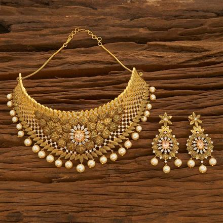 54693 CZ Mukut Necklace with gold plating