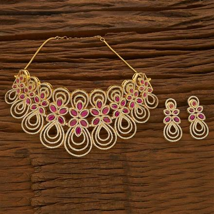 54694 CZ Mukut Necklace with gold plating