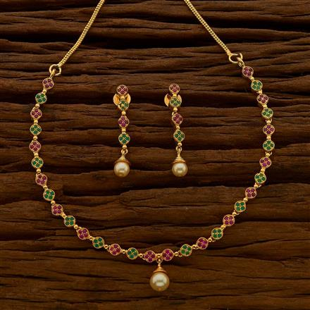 54696 CZ Delicate Necklace with gold plating