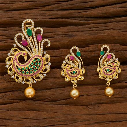 54699 CZ Peacock Pendant Set with gold plating