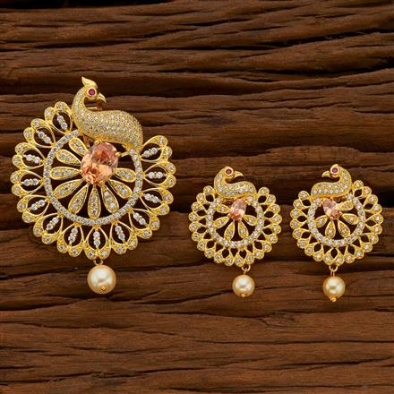 54700 CZ Peacock Pendant Set with gold plating