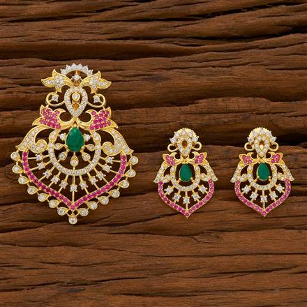 54701 CZ Classic Pendant Set with gold plating
