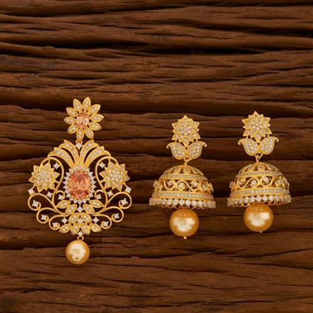 54708 CZ Classic Pendant Set with gold plating