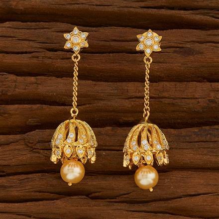 54709 American Diamond Jhumki with gold plating