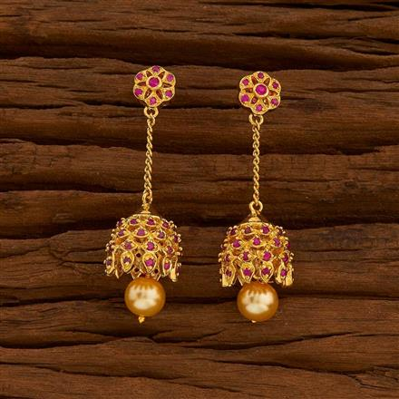 54710 American Diamond Jhumki with gold plating