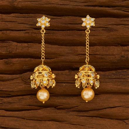54711 American Diamond Jhumki with gold plating