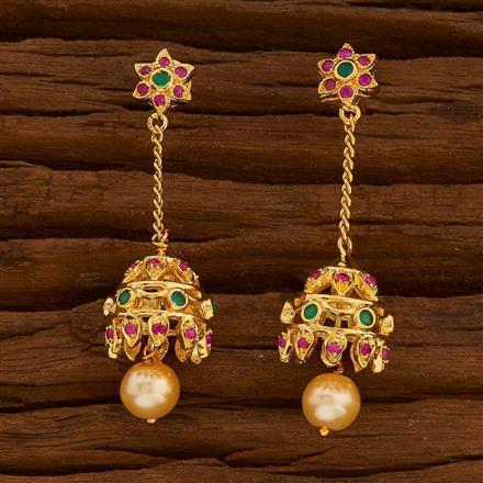 54712 American Diamond Jhumki with gold plating