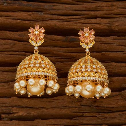 54713 American Diamond Jhumki with gold plating