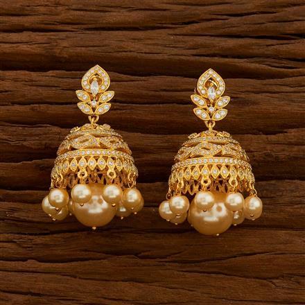 54714 American Diamond Jhumki with gold plating