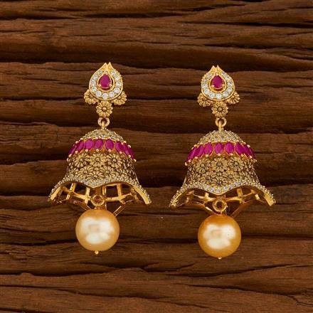54715 American Diamond Jhumki with gold plating