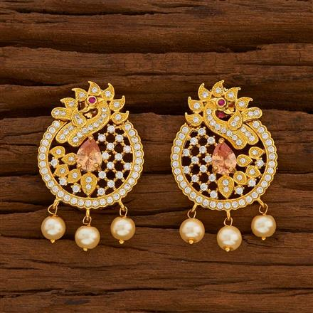 54716 CZ Peacock Earring with gold plating