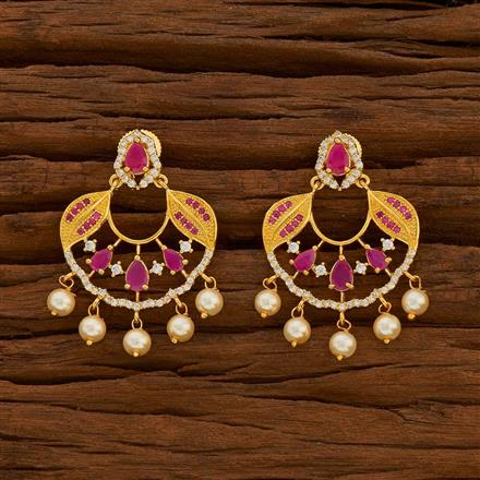 54717 CZ Chand Earring with gold plating