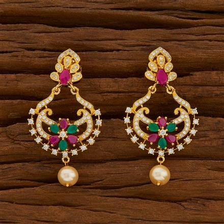 54718 CZ Chand Earring with gold plating
