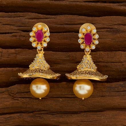 54741 American Diamond Jhumki with gold plating