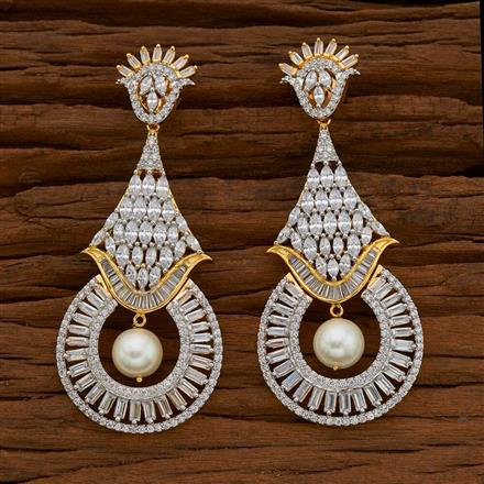 54745 CZ Classic Earring with 2 tone plating