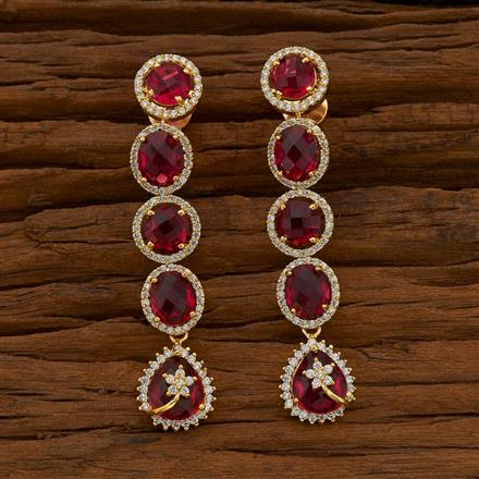 54749 CZ Long Earring with gold plating