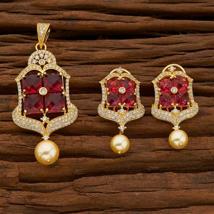 54751 CZ Classic Pendant Set with gold plating