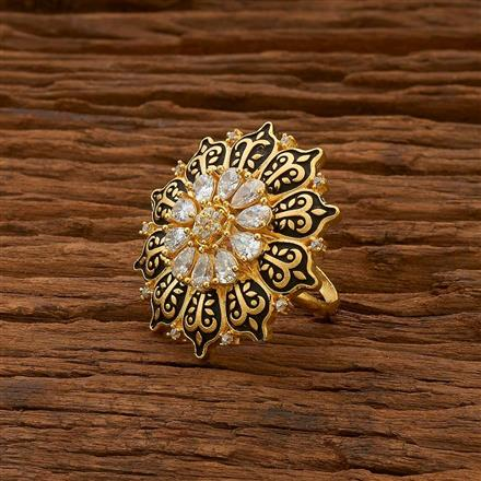 54752 CZ Classic Ring with gold plating
