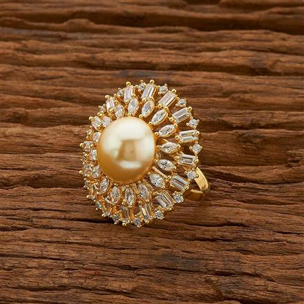 54753 CZ Classic Ring with gold plating