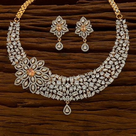 54758 CZ Classic Necklace with 2 tone plating