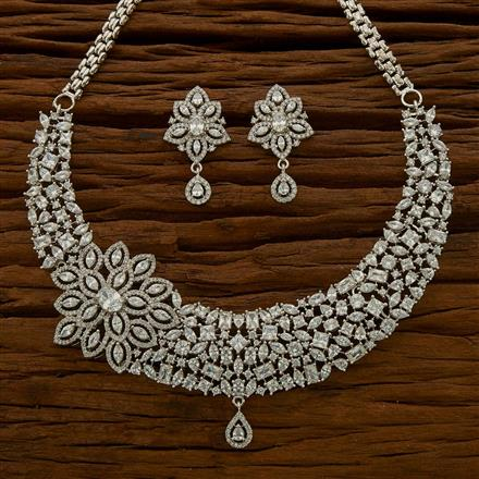 54760 CZ Classic Necklace with rhodium plating