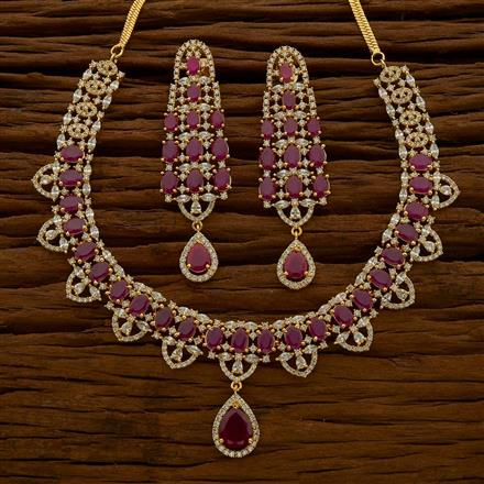54764 CZ Classic Necklace with gold plating