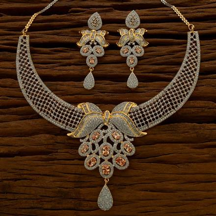 54765 CZ Classic Necklace with 2 tone plating
