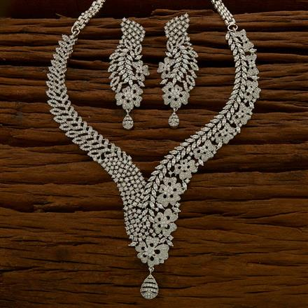 54773 CZ Classic Necklace with rhodium plating