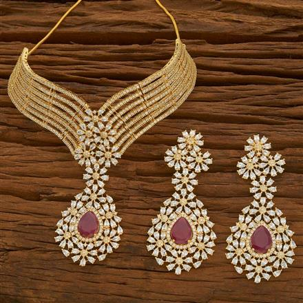 54777 CZ Mukut Necklace with gold plating