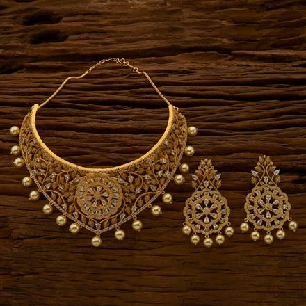 54778 CZ Mukut Necklace with gold plating