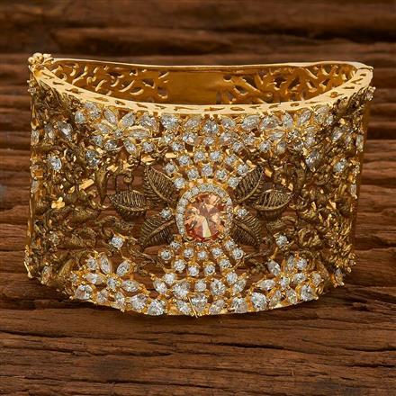 54817 CZ Broad Kada with gold plating