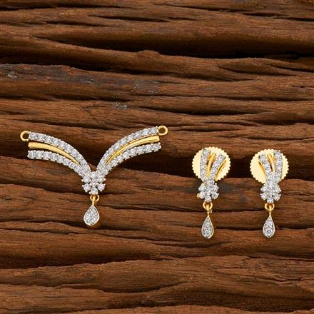 54820 CZ Delicate Mangalsutra with 2 tone plating