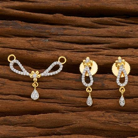 54821 CZ Delicate Mangalsutra with 2 tone plating