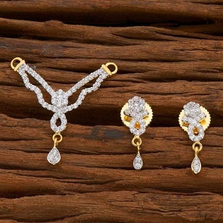 54822 CZ Delicate Mangalsutra with 2 tone plating