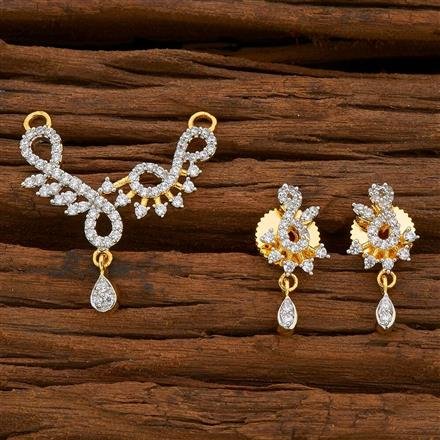 54823 CZ Delicate Mangalsutra with 2 tone plating