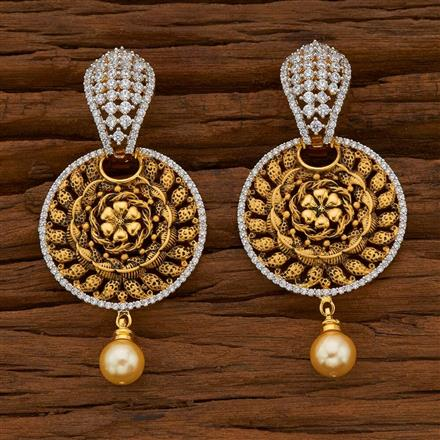 54827 CZ Classic Earring with 2 tone plating