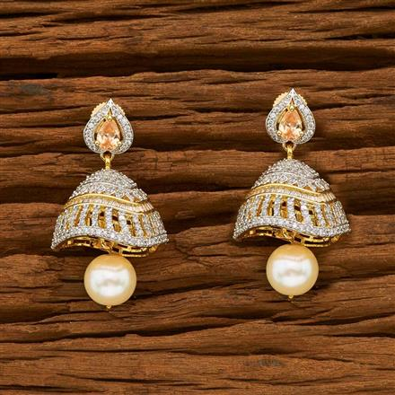 54837 American Diamond Jhumki with 2 tone plating