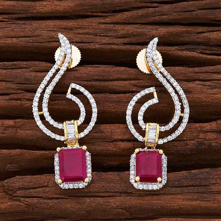 54839 CZ Short Earring with 2 tone plating